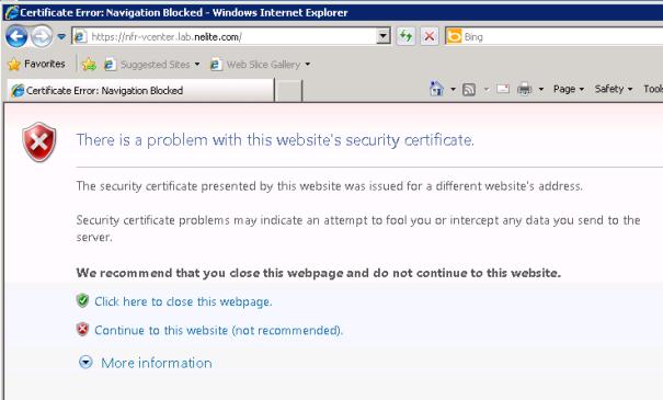 Erreur de certificat IE